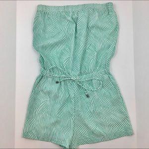 Splendid Turquoise Stripe Strapless Romper